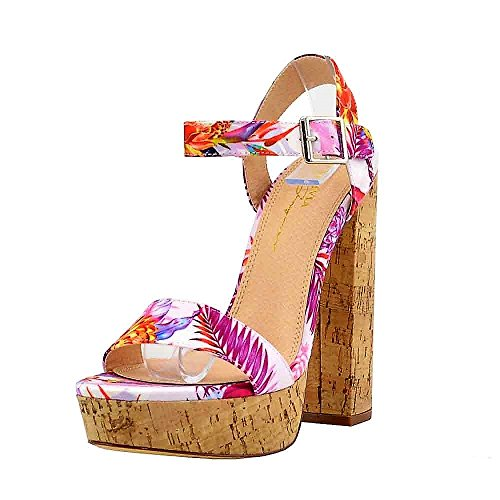 (Women's Casual Sandal | Round Open Toe | Floral Print One Band Ankle Strap | Cork-Wrapped Platform Block Chunky Heel Sandals (9, Pink))