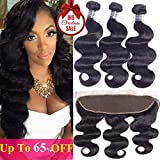 Bleaching Hair Price - Amella Hair Brazilian Body Wave with Lace Frontal(14 16 18+12 Frontal) 8A 100% Unprocessed Brazilian Body Wave Frontal with Baby Hair Top Brazilian Virgin Hair Lace Frontal Closure Natural Color