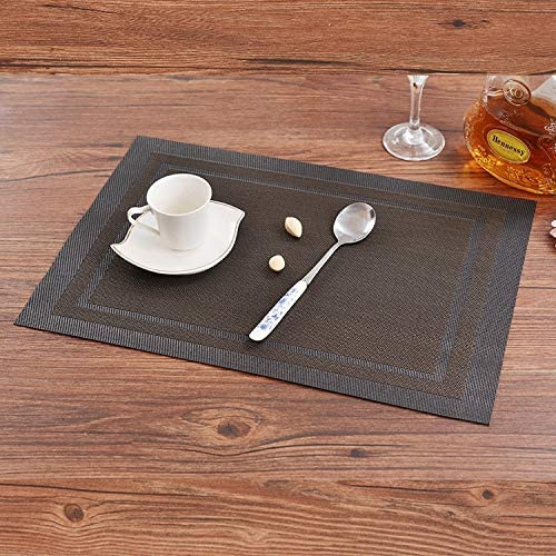 Gu3Je Inicio Juego de 10 tapetes de Mesa, manteles Antideslizantes de Aislamiento de PVC Manteles Individuales aislantes Lavables (Multicolor) Sala de Estar/Cocina (Color : Black, Size : 45X30 cm): Amazon.es: Hogar