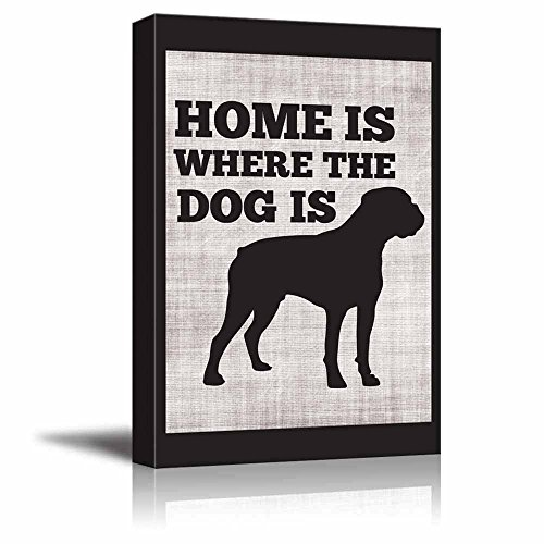 Home is Where The Dog is Boxer Cute Typographic Slihouette Design Fun Young Design