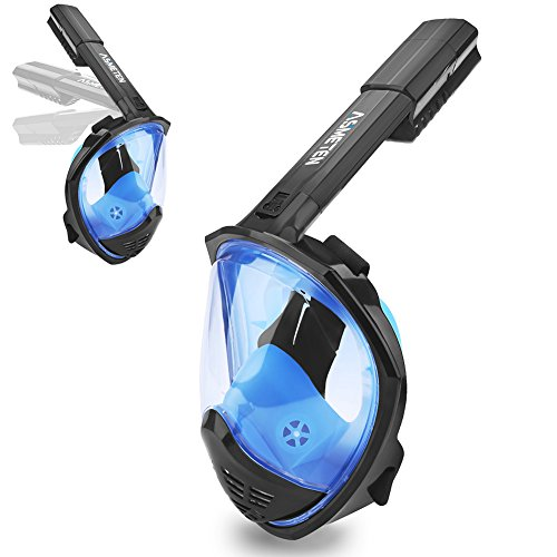 Asmeten Full Face Snorkel Mask 2018 Newest Foldable Panoramic View Snorkeling Mask with Detachable Camera Mount, Dry Top Set Easy Breath Anti-fog Anti-leak for Adults and Kids(Blue SM)