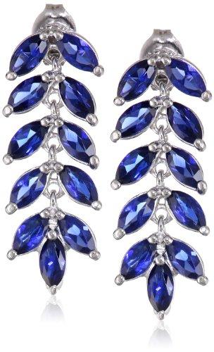 Sterling Silver Created Blue Sapphire Marquise Cut Leaf Post Drop Earrings (Earrings Cut Sapphire Dangling)