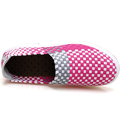VILOCY Women's Woven Water Shoes Thick Bottom Slip On Loafer Flat Sandals Casual Travel Walking Water Shoes Rose Red rdyov