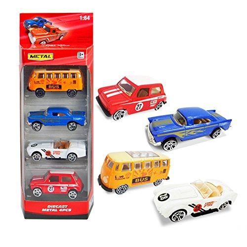 RaiFu カーモデル 車モデル 4本/セットダイキャスト1:64比合金モデルトレックカー車のおもちゃ子供のための子供の男の子Xmasのギフト 4pcs セット1