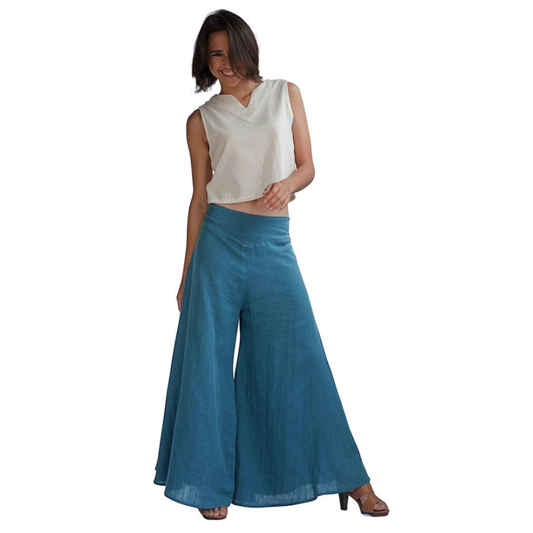 Paymenow Womens Fashion Casual Wide Leg Pants Horn Loose Trousers Flares Pants Culottes Trousers (XL, Blue) by Paymenow