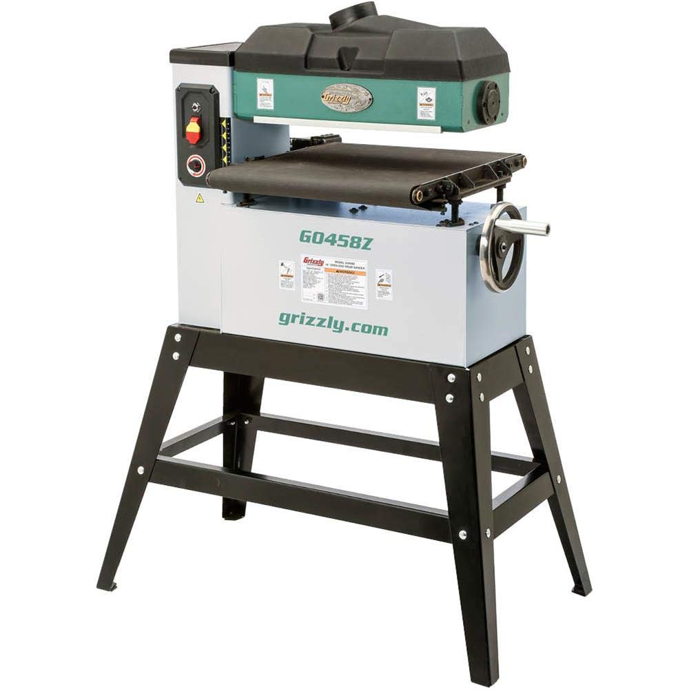 """Grizzly Industrial G0458Z - 18"""" 1-1/2 HP Open-End Drum Sander w/VS Feed"""