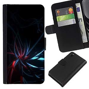 KLONGSHOP // Tirón de la caja Cartera de cuero con ranuras para tarjetas - Negro oscuro del trullo luces rojas - Sony Xperia Z3 D6603 //