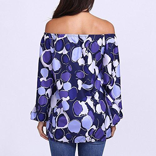 Slash Maniche Lunghe Camicie 5XL Point Casual Tops T S Neck Autunno Camicette Stampa Pullover Blu Donna Elegante ABCone Shirt Felpa XwaxP7qq