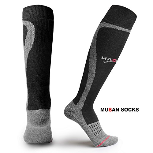 MUSAN Wool Ski Socks,Extra Warm Knee High Performance Snow Skiing//Snowboard Socks in Outdoor,Fit for Men and Women