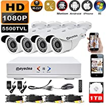 Eyedea L 1080P 4 CH DVR 2.0MP 5500TVL Real time CMOS Image Sensor Bullet Outdoor Indoor Infrared LED Night Vision Video Surveillance CCTV Security Camera System 1TB