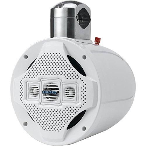 Four-Way Marine Wakeboard Tower Speaker - 8 Inch 1200 Watt Mid Range Audio Weatherproof Marine Grade Passive Boat Sound System - Lanzar AQWB8W (White)