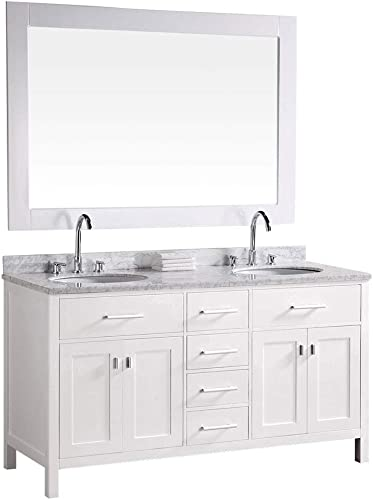 Luca Kitchen Bath LC61CWW Geneva 61 Double Vanity Set in White with Carrara Marble Top, Sink, and Mirror