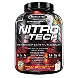 MuscleTech Nitro-Tech Protein Powder, Vanilla Birthday Cake, 4 Pound