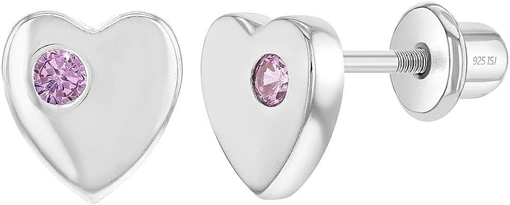 In Season Jewelry - 925 Plata de Ley Circonita Rosa Aretes Pequeño de Corazón con Cierre de Rosca para Niñas