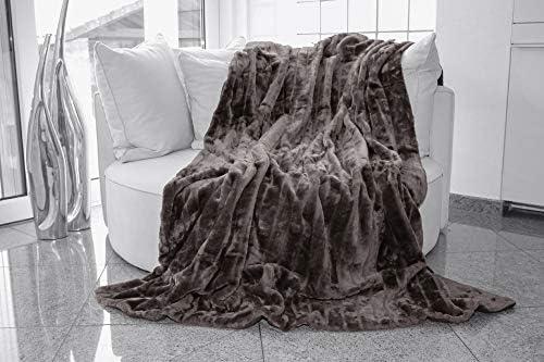Gris grand luxe fausse fourrure jeter canapé lit Vison Doux Couverture Chaude-King Size