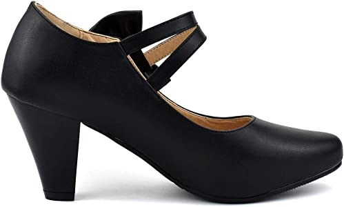 Ladies Girls Sweet Bow Low Block Heel Round Toe Candy Mary Jane Shoes Plus Size