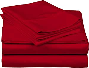 True Luxury 1000-Thread-Count 100% Egyptian Cotton Bed Sheets, 4-Pc Queen RED Sheet Set, Single Ply Long-Staple Yarns, Sateen Weave, Fits Mattress Upto 18'' Deep Pocket