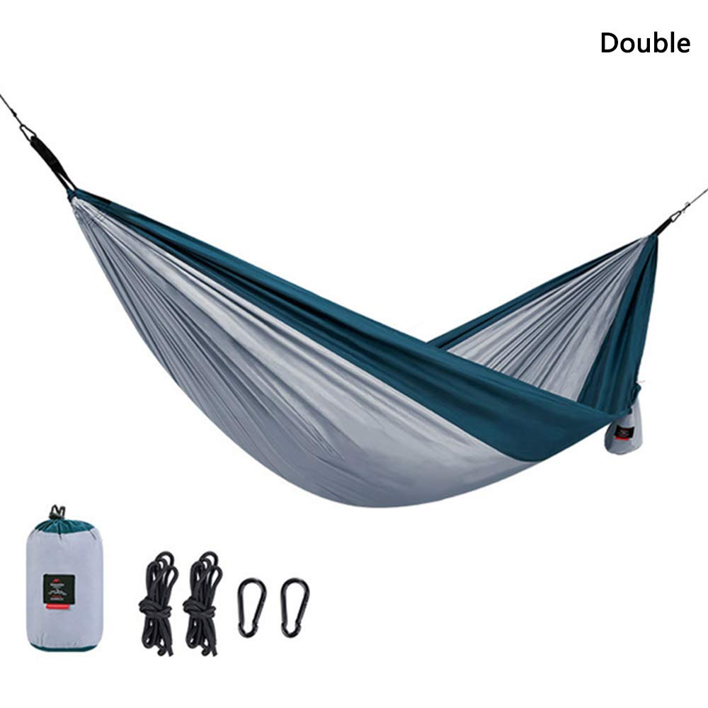 AMAZOIN Single&Double Camping Hammock - Lightweight Portable Pongee Parachute Hammock Gray Load 180 Kg for Camping, Outdoor, Backpack, Travel,Double