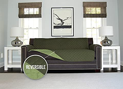 The Original SOFA SHIELD Reversible Slipcover Furniture Protector, Features 2 Inch Elastic Strap (Oversized Sofa: Hunter - Sage Green Chenille