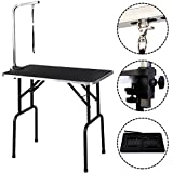 Eight24hours Adjustable 32'' Pet Dog Cat Grooming Table Top Foam W/Arm&Noose Rubber Mat New + FREE E-Book