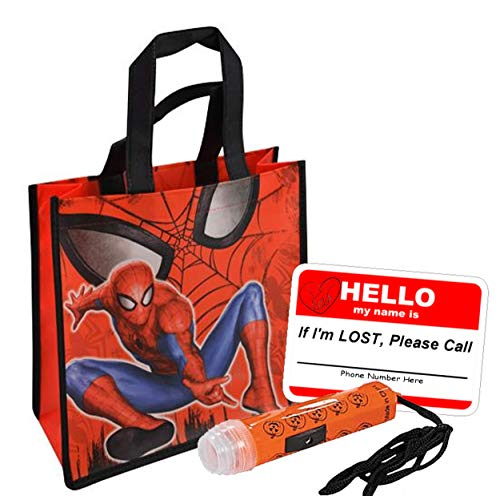 UPD Marvel Spider-Man Boy's Resuable Small Sized Halloween Trick Treat Loot Bag!! Plus Bonus Safety First Sticker & Mini Halloween Flashlight Necklace!