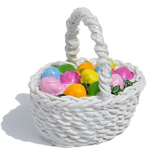 Miniature Fairy Garden Easter Egg Basket, White