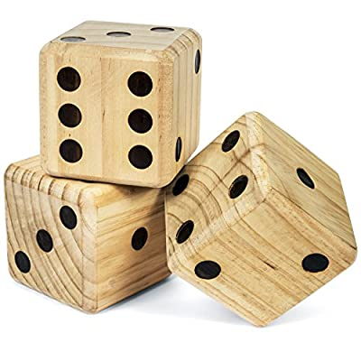 Tailgating Pros Giant Dice Set - 6 Oversized Wooden Playing Dice: Toys & Games