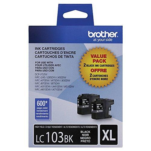 - Brother LC-1032PKS Ink Cartridge (Black, 2-pack) in Retail Packaging