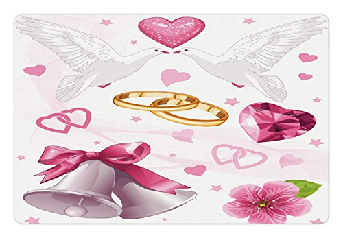 Ambesonne Wedding Pet Mat for Food and Water, Wedding Themed Artwork Invitation Announcement Hearts Rings Birds Happiness, Rectangle Non-Slip Rubber Mat for Dogs and Cats, Pink White Orange