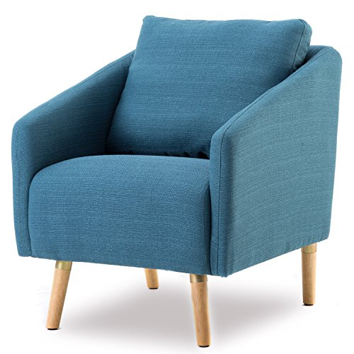 BONZY Accent Chair Mid-Century Style for Living Room Durable Frame – Navy