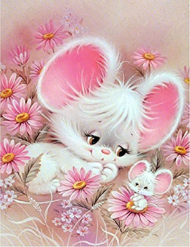d Painting Rabbit by Number Kits, Crystal Rhinestone Diamond Embroidery Paintings Pictures Arts Craft for Home Wall Decor, Full Drill 12 x 16 Inch ()