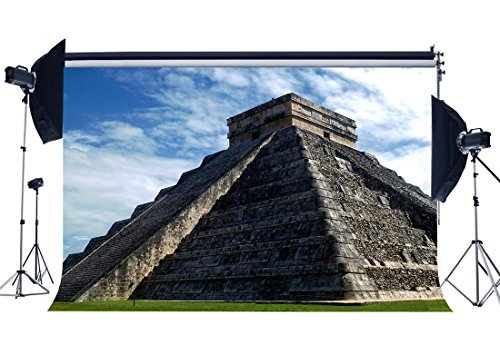 Gladbuy Pyramids in Mexico Backdrop 5X3FT Vinyl North America Pyramids Backdrops Mayan Civilization Green Grass Meadow Famous Archiculture Landscape Photography Background for Photo Studio Prop KX935 (Best Chichen Itza Tour)
