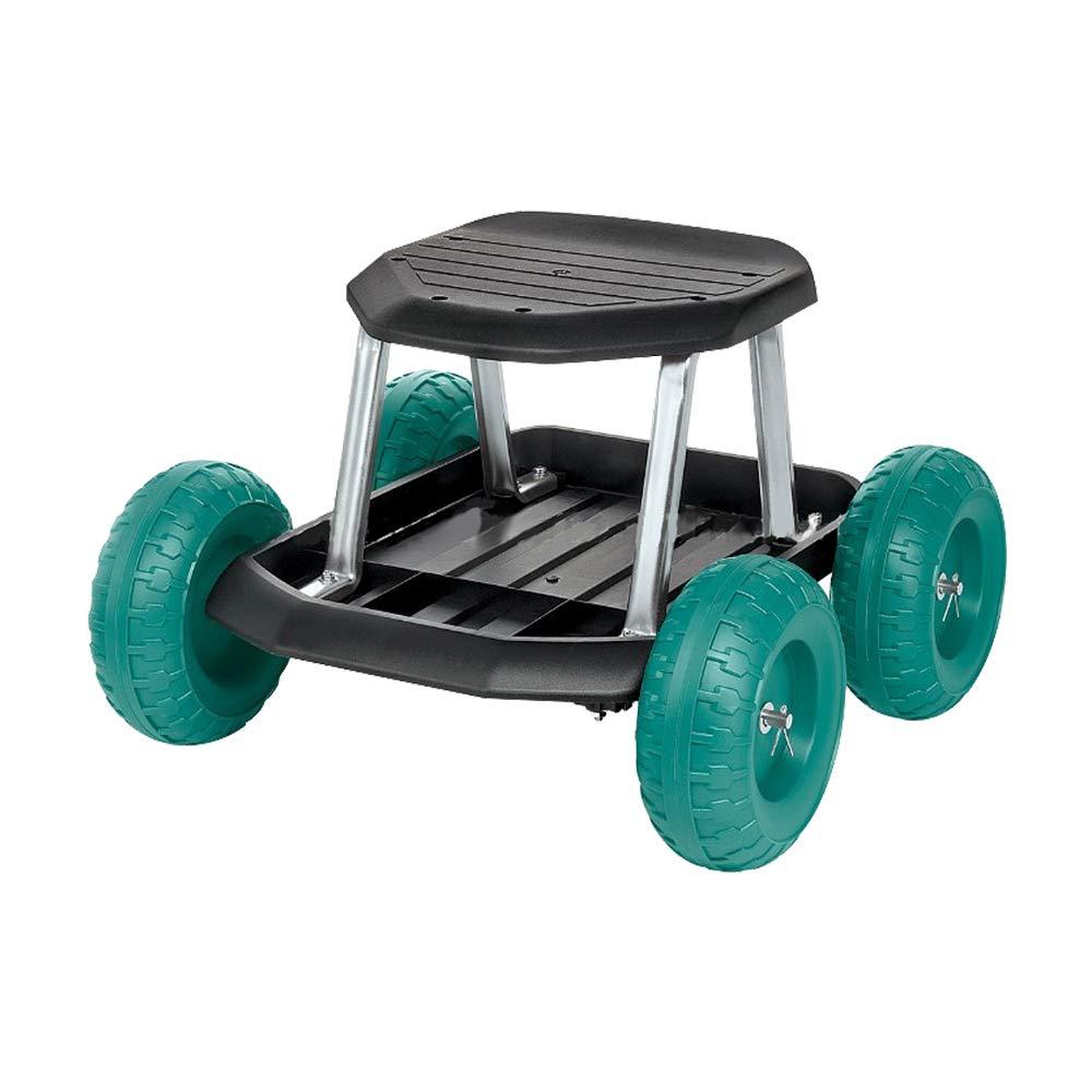 HENGMEI Carretto per giardino con rotelle Sgabello Seduta con Ruote Carrello da Giardino Altezza del sedile regolabile Modello C
