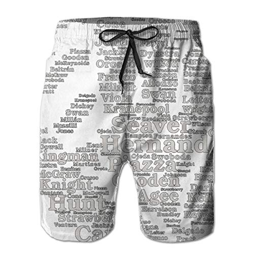 Mets Greats Glove (Grey) Beach Board Shorts With Pockets And Lining