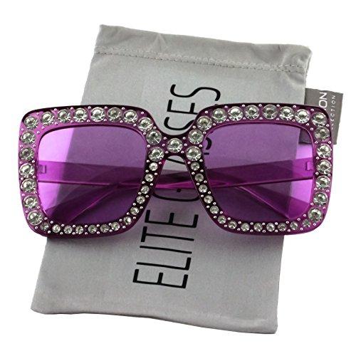 Elite Oversized Square Frame Bling Rhinestone Crystal Brand Designer Sunglasses For Women 2018 (Purple, ()