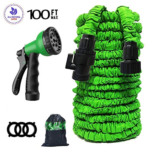 M&W Garden Hose Expand Garden Hose Triple Layer Latex Core 3/4 ABS Aluminum Alloy Fittings 8 Function Spray Nozzle On/Off Valve Extra Strength Fabric 100 FT Garden Hose All Your Watering Need
