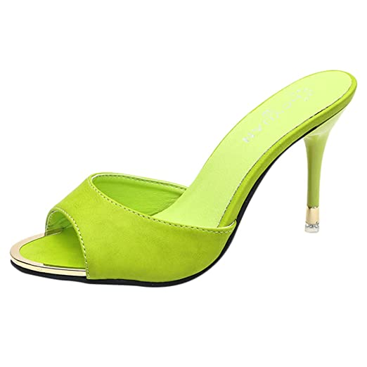 1796df783ad Image Unavailable. Image not available for. Color  Hotcl Women Summer Shoes  Party High Heel Stiletto Leisure Candy Color Fish Mouth Sandals Outdoor  Slippers