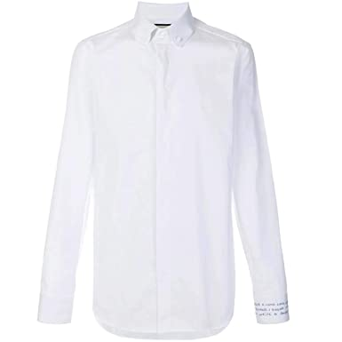 06be48a7d Image Unavailable. Image not available for. Color: GUCCI Men's Slim Fit  Embroidered Cotton Dress Shirt White