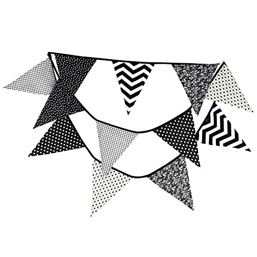 Extra Large Bunting 12 Feet Flag Banner Pennant Garland Fabric Triangle Flags Double Sided Vintage Cloth Shabby Chic Decoration for Wedding Birthday Party Bedrooms (Black & (12' Vintage Flag)