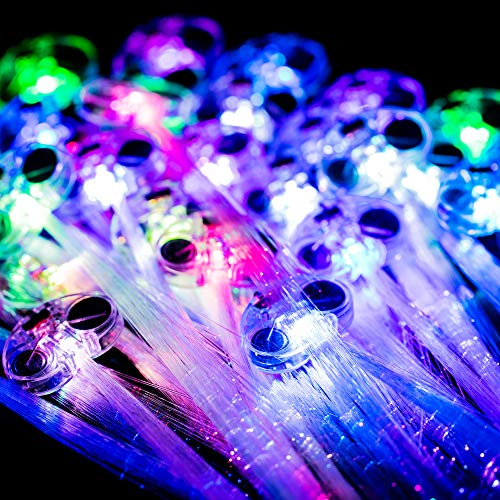 MIDAFON Color Changing Slowly LED Hair Lights New 30 Pack LED Multicolor Light Flashing Fiber Optic Hair Braid Barrettes Party Favors Party Pack -
