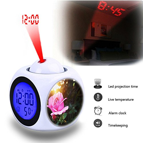 Projection Alarm Clock Wake Up Bedroom with Data and Temperature Display Talking Function, LED Wall/Ceiling Projection,Customize the pattern-653.nature blossom light plant sunshine (Blossom Display Clock)