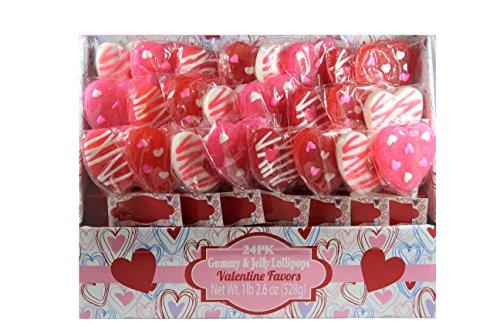 Gummy & Jelly Lollipops Valentine Favors, 24 Pack