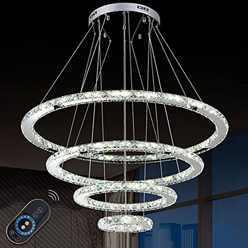 LightInTheBox Dimmable LED Crystal Chandeliers Lights Remote Control Pendant Lighting Fixtures with 4 Ring D90705030 CE&UL&FCC