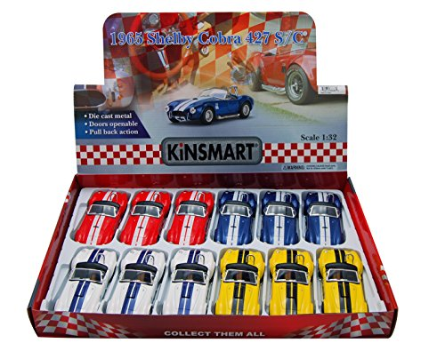 KiNSMART 1965 Shelby Cobra 427 S/C Convertible Diecast Car Package - Box of 12 1/32 Scale Diecast Model Cars, Assorted Colors