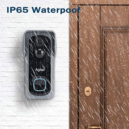 WiFi Video Doorbell Camera, Agoal Wireless Doorbell Camera with Chime, 1080P HD Security Doorbell Camera with 32GB SD Card Installed, 2-Way Audio, 166° Wide Angle, PIR Motion Detector, Night Vision