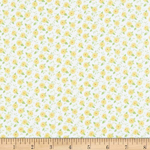 Wilmington Prints Fleurette Tiny Blossoms White/Yellow Fabric Fabric by the Yard