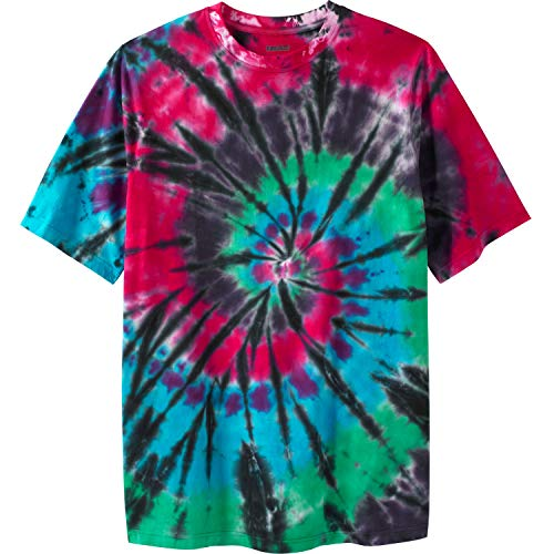 KingSize Men's Big & Tall Lightweight Tie-dye Crewneck Tee, Black Tie Dye Big-2XL