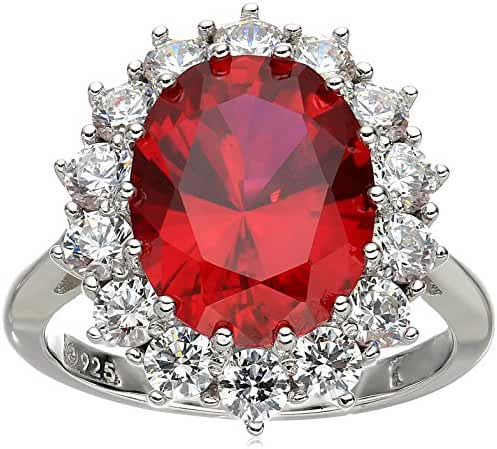 Platinum Plated Sterling Silver Created Ruby with Swarovski Accent Ring