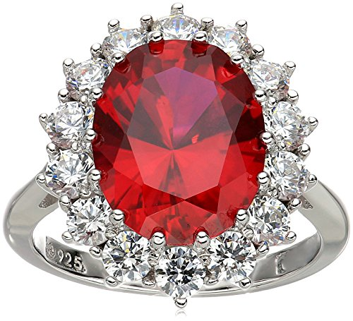 ling Silver Created Ruby with Swarovski Accent Ring, Size 8 (Oval Shape Ruby Ring)