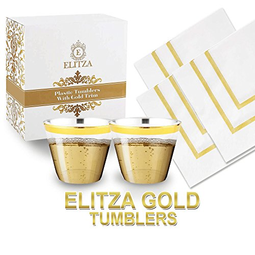Elitza Gold Plastic Cups - 9oz Tumblers with Gold Rim 50 count   BONUS 50 Napkins with Gold Trim Included   Disposable Reusable Fancy Elegant Gold Rimmed Cups for Weddings Parties Showers Events